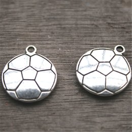 Wholesale Soccer Antiques - 8pcs--Football charms, Antique Tibetan silver Soccer ball pendants  charms 22x19mm