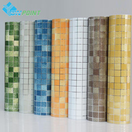 Wholesale Pvc Wallpaper Sticker - Kitchen wall sticker PVC mosaic tile wallpaper bathroom walls paper waterproof stickers wallpapers for kitchen home decor 45cm*5M roll