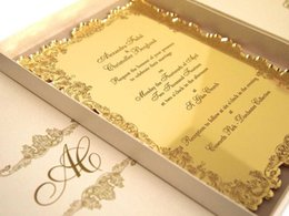 """Wholesale Customized Invitations - High Quality Acrylic gold customized wedding invitations,acrylic Gold invitations card(6.5""""x4.5""""xT1 12"""")"""