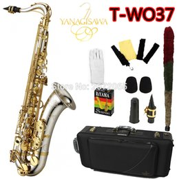Wholesale Case Bb - Wholesale- Brand NEW YANAGISAWA Tenor Saxophone T-WO37 Bb Nickel Plated Gold Key Professional Sax Mouthpiece With Case and Accessories