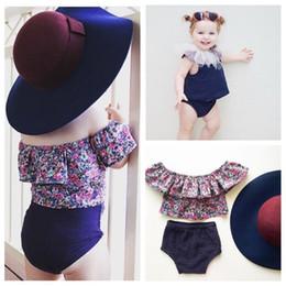 Wholesale Girls Floral Shirts - Girls floral outfit INS children shoulder floral falbala T-shirt tops +Shorts 2 pcs sets summer kids cotton sweet colthing A0373
