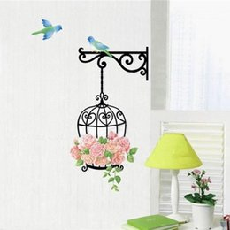 Wholesale Tile Mural Stickers - New Qualified Delicate New Fashion birdcage Wall Sticker Home Decor Vinyl Removeable Mural Decal with birds Hot Selling
