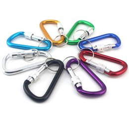 Wholesale Key Locking Buckles - High Quality Aluminum Alloy with Lock D Key Ring Climbing Survial Key Chain Fashion Gift Keychain Creative Buckles
