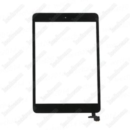 Wholesale Glass Ipad Mini Ic Connector - 10PCS 100% New Touch Screen Glass Panel Digitizer with IC Connector Home Buton for iPad Mini Black and White