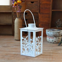 Wholesale Garden Christmas Ornament - Vintage Garden tables White Candle Holders Birdcage Candle Holder Garden Night Outdoor Romantic Dining Table Candle Holder Candle Ornaments