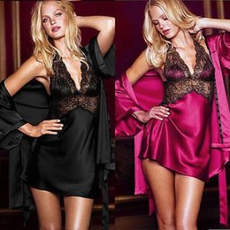 Wholesale Sexy Silk Robe Styles - Wholesale- 2017 Women New Style Fashion Hot Sexy Women Lace Silk Robe Lingerie Dress Ladies Nightgown Bathrobe Sleepwear 2PC