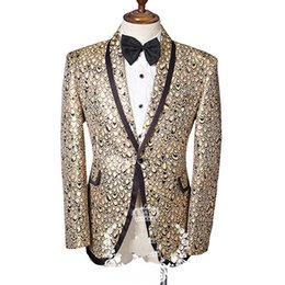 Wholesale M Jazz - male print casual jacket blazer singer dancer show DS dance costumes outerwear coat DJ jazz nightclub performance stage prom