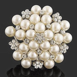 Wholesale Pearl Cluster Ball - Rhodium Silver Plated Cream Imitation Pearl Cluster and Rhinestone Crystal Diamante Bridal Brooch Party Prom Pin