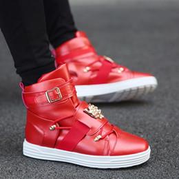 Wholesale Toe Punk - Fashion High Top Casual Shoes Men PU Leather Lace Up Red White Black Color Mens Sport Shoes Men Punk Shoes Footwear Zapatillas Hombre