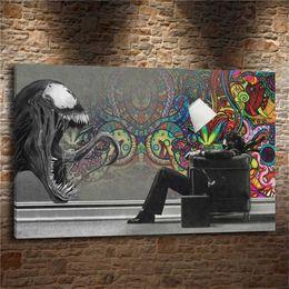 Wholesale Venom Figures - ABSTRACT MARVEL VENOM,Home Decor HD Printed Modern Art Painting on Canvas (Unframed Framed)
