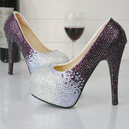 Vestido de fiesta morado de cenicienta online-Púrpura y plata Rhinestone zapatos de tacón alto banquete de boda bombas nupcial zapatos de vestir formales Cinderella Prom bombas más tamaño 45