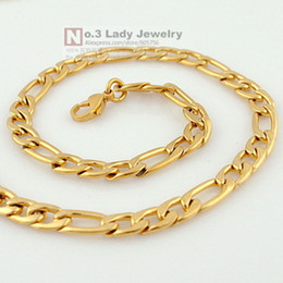 Wholesale Mens Gp Chains - Wholesale- Gokadima 6mm width Gold Color GP Stainless Steel Figaro Chain Necklace For Mens Jewelry 2017 Fashion, Wholesale WN112