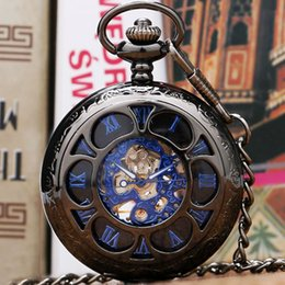 Wholesale Number Acrylic Watch - Wholesale-Black Flower Hollow Case Blue Roman Number Skeleton Dial Steampunk Mechanical Pocket Watch With Chain Gift To Men Women