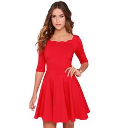 2019 dimagrendo gli abiti di anni nuovi Commercio all'ingrosso- Tengo donne Slim svasato tunica ondulato scollatura abito rosso donne di marca casual sexy abiti da festa estiva per le donne Capodanno dimagrendo gli abiti di anni nuovi economici