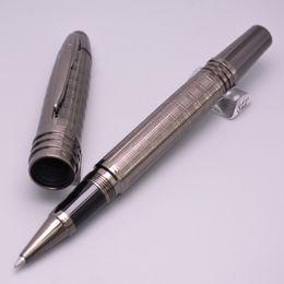 Wholesale Gift Pen Star - High Quality monte JFK Gray Metal Ballpoint Pen   Roller Ball Pen With White star School Office Stationery Luxury Brand Gift Pens