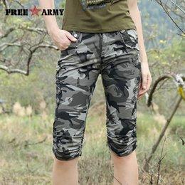 Wholesale Women Combat Pants - Women Combat Tactical Capris Camouflage Jogger Pants New 2017 Camo Print Sweatpants Joggers Casual Cargo Pants Plus Size 26-31