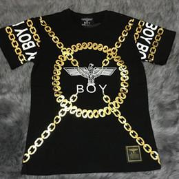 Wholesale Short Neck Chains - Summer Tide Boy london T-shirt Bronze Chain Eagle Letter chain hip hop moleton masculino Loose Short sleeve sportswear