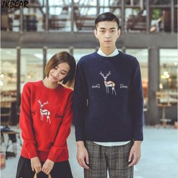 Wholesale Reindeer For Sale - Wholesale- 2016 Hot Sale Fashion Cute Embroidery Reindeer Patterned Matching Christmas Sweaters for Couples Plus Size Lovers Pullovers S-XL