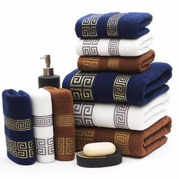 Les serviettes en Ligne-Ensemble de serviettes de bain en coton haute qualité 3pcs / set set de serviettes de bain 1pc de marque de serviettes de bain 2pcs serviettes pour le visage