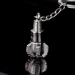 Wholesale Keychain Pipes - 5pcs Keychain!Fashion novelty Zinc Alloy metal drill pipe drill bit keychain car keyring creative key finder holder Friends gift