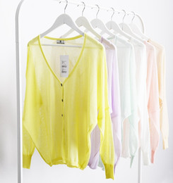 Wholesale Sexy Big Size Breast - Wholesale-Hot sales women fashion high quality Sexy Perspective natural silk bat sleeve loose soft big size Solid color knit cardigan