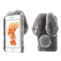 Wholesale Wholesale Plush For Hair - Luxury Lady Phone Case Winter Warm Rabbit Ear Hair Fluffy Fur Ball Diamond Back Plush Cover for Iphone 6 6s plus 7 7plus