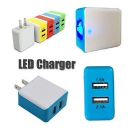 Wholesale Universal Weight - 2 USB US Plug Wall Chargers LED Adapter Light Weight High Quality Travel Convenient Power Adaptor with Double USB Ports for Mobile Phone