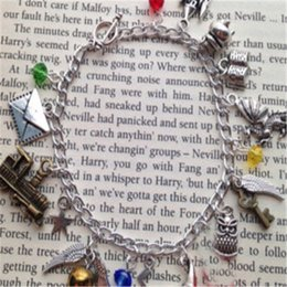 Wholesale Dragons Bracelet - 6pcs lot HP inspired Charm Bracelet envelope star train book dragon charm braclet.
