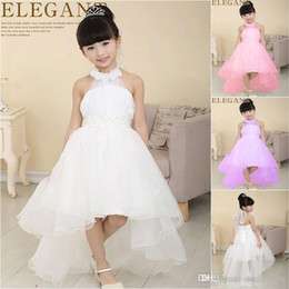 Wholesale Embroidery Baby Dress - Elegant Baby Girl Cute Asymmetric Halterneck Solid mesh long tail flower girl dress tutu wedding party backless trailing ball gown dress