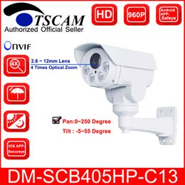 Wholesale Optical Zoom Ir Camera - TSCAM new DM-SCB405HP-C13 HD 960P 1.3MP Bullet IP Camera 4X Optical Zoom Mini IR Night Vision PTZ Security camera P2P Free shipping