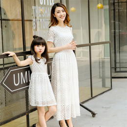 Wholesale Short Sleeve Maxi Dress Pattern - Mother and Daughter summer Lace Dress Sweet Geometric pattern Hollow out short sleeves Maxi Dress family matching look outfits