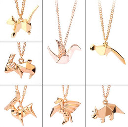 Wholesale Origami Love - Brand new Personalized creative origami dinosaur antelope paper crane long animal necklace WFN403 (with chain) mix order 20 pieces a lot