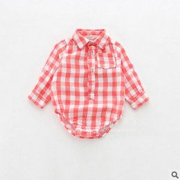 Wholesale Toddler Boys Halloween Shirts - babies lattice romper 2017 spring Baby boys Girls long sleeve lattice shirt jumpsuits toddler kids cotton climb clothings T1019 5 color
