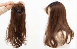 Wholesale Hair Extensions Fringes - Topper Quality remy synthetic hair Clip in Toupee Women's long hair toupee with neat fringe Lace hair closure Free shipping