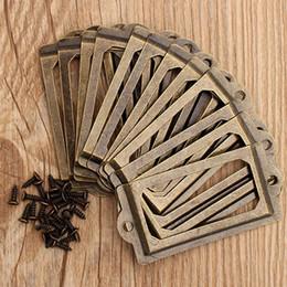 Canada 12pcs / set en laiton antique étiquette métallique tirer cadre poignée nom de fichier titulaire de la carte pour meubles armoire tiroir boîte cas poubelle Offre