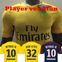 Wholesale Player Version - Player Version 17 18 Soccer jerseys NEYMAR JR DANI ALVES DI MARIA Shirts 2017 2018 Away Yellow VERRATTI CAVANI maillot MBAPPE Draxler CAVANi