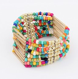 Wholesale Chains Meters Gold - Bohemian Amorous Feelings Tassel Bad Bracelet with Long Tube Meter Bead Bracelet with 7 Colours