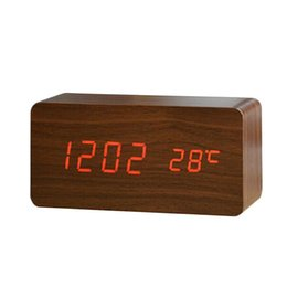 Wholesale Table Temperature Display - Wholesale- Top Quality Upgrade LED Alarm Clock Home Temperature Sounds Control LED Display Electronic Office Desktop Digital Table Clocks