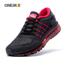 Wholesale Unique Summer - ONEMIX Running Shoes for Men Air Cushion Shox Athletic Trainers Man Black Red Sports Shoe 2017 Unique Shoe Tongue Outdoor Walking Sneakers