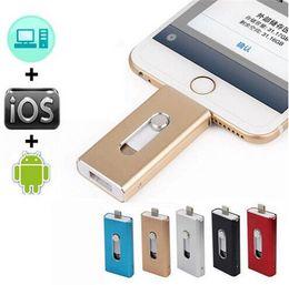Wholesale Ipad Disk - 2017 Metal Pen Drive 128GB Dual USB Memory Flash Drive U Disk For IOS iPhone iPad PC