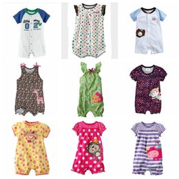 Wholesale Boxer Children - Kids Clothing Baby Rompers Infant Cartoon Floral Jumpsuits Striped Printed Children Embroideried Boxers Bodysuits Kids Cotton Clothes H618