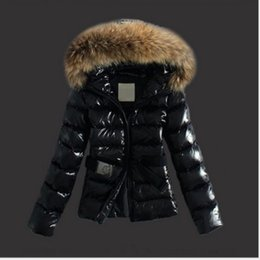 Wholesale Womens Fur Collar Coat - Womens Faux Fur collar Parka Down Cotton Peacoat Belt Hooded Padded coat quilted jacket Slim Fit Snow Warm 2Colors