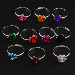 Wholesale Diy Wedding Flower - Colorful Little Flower Ring Adjustable Size 100pcs lot Fresh Band Rings Jewelry DIY NEW R3088 98