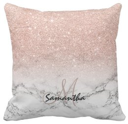"Wholesale Pink Roses Pillow Cases - Throw Pillow Case, Custom faux rose pink glitter ombre white marble ar Sofa Cushions Cover, ""16inch,18inch,20inch""Squ, Pack of X"