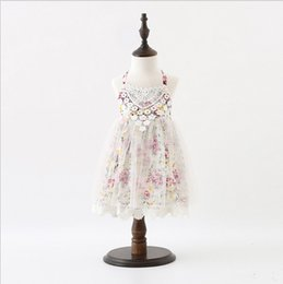 Wholesale Lace Binding - Ins Sweet Baby Summer Dress Lace Skirt Girls Binding Band Dresses Flower Printed Embroidery Cute Summer Beach Dress High Quality DressyQ0538