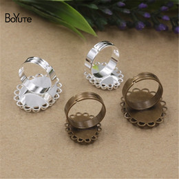 Wholesale bronze cabochon ring settings - BoYuTe 20Pcs Oval 13*18MM 18*25MM Cabochon Base Ring Silver Bronze Diy Adjustable Ring Setting Jewelry Findings