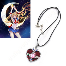 Wholesale Men Necklace Japan - Wholesale-New Fashion Japan anime men women necklace alloy heart pendant necklace Sailor Moon charm necklace