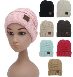 Wholesale Crochet Beanie Colors - Kids CC Beanies 8 Colors Fashion Knitted Hats Cap Beanies for Children Winter Hats Kids Cable Slouchy Hats Christmas Gifts D747 50pcs
