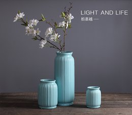 Wholesale Ceramic Vase Blue - 2017 Wholesale production simple modern American country blue tabletop ceramic flower vase ornaments crafts free shipping