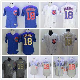 Wholesale Cheap Sport Patches - 2016 World Series Champions Patch Chicago Cubs #18 Ben Zobrist Jersey White Blue Grey Gold Program Cheap Flexbase Sports Baseball Jerseys